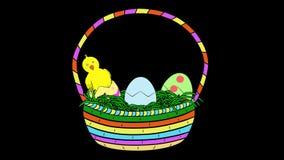 Pulcini in Pasqua Canestro-Animato-trasparente stock footage