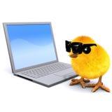 pulcino 3d con il pc del computer portatile Immagini Stock Libere da Diritti