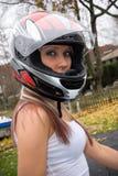 Pulcino del motociclista Immagine Stock