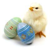 Pulcino ed uova di Pasqua Fotografia Stock