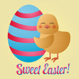 Pulcino ed uovo di Pasqua Immagini Stock Libere da Diritti