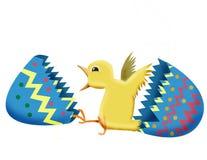 Pulcino ed uovo di Pasqua Fotografia Stock