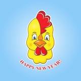 Pulcino giallo dell'autoadesivo su un fondo blu Simbolo del gallo del nuovo anno 2017 Immagine Stock Libera da Diritti