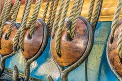 Pulegge di legno Fotografia Stock