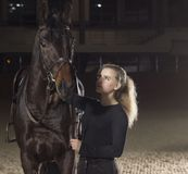 Puleggia tenditrice che esamina il suo bello cavallo Fotografie Stock Libere da Diritti