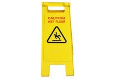 Pulendo nel simbolo bagnato del pavimento di cautela e di processo Fotografia Stock