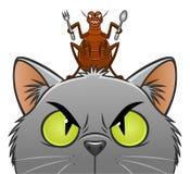 Pulga que va a comer el gato ilustración del vector