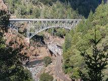 Pulga Twin Bridges. In the Feather River Canyon Royalty Free Stock Image
