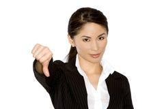Pulgar abajo de la mujer de negocios Foto de archivo libre de regalías