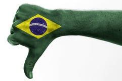 Pulgar abajo el Brasil Fotos de archivo libres de regalías