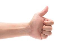 Pulgar adulto de la mano del hombre para arriba, en el fondo blanco imagen de archivo