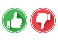 Pulgar arriba y abajo de iconos rojos y verdes Tengo gusto y tengo aversi?n Vector libre illustration