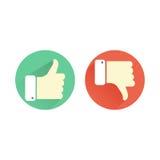 Pulgar arriba y abajo de iconos verdes y rojos Como y de la aversión BU redondos libre illustration
