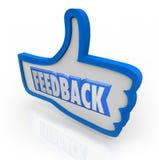 Pulgar azul de la palabra de la reacción encima de comentarios positivos Imagen de archivo