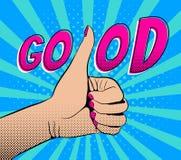 Pulgar de la demostración de la mano para arriba con buena palabra stock de ilustración