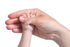 Pulgar de la explotación agrícola de la mano del bebé de la madre Foto de archivo