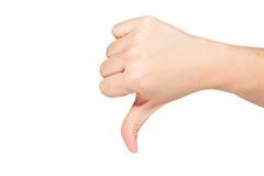Pulgar de la mano abajo Imagen de archivo libre de regalías