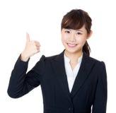 Pulgar de la mujer de negocios de Asia para arriba Fotografía de archivo