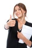 Pulgar de la mujer de negocios para arriba, sosteniendo el cuaderno Fotos de archivo