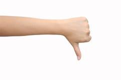 Pulgar de la señalización de la mano abajo Fotografía de archivo