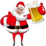 Pulgar de la taza de cerveza de Santa Claus para arriba Foto de archivo
