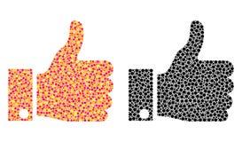 Pulgar del pixel encima de iconos del mosaico stock de ilustración