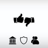 Pulgar encima de iconos, ejemplo del vector Estilo plano del diseño Fotografía de archivo libre de regalías