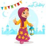 Pulgar encima de la chica joven que celebra el Ramadán