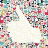 Pulgar encima de la textura social de los iconos de los media Fotos de archivo