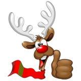 Pulgar fresco y feliz del reno encima del personaje de dibujos animados stock de ilustración