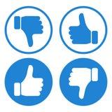 Pulgar hacia arriba y hacia abajo Como y aversi?n Fije de botones azules y blancos con las manos Vector ilustración del vector