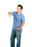Pulgar masculino hispánico sin emociones estoico abajo V completo Imagen de archivo