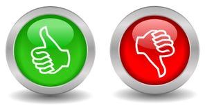 Pulgar para arriba abajo del botón stock de ilustración