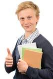 Pulgar-para arriba adolescente acertado del estudiante Foto de archivo