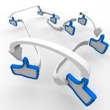Pulgar para arriba como la comunicación conectada de los símbolos stock de ilustración