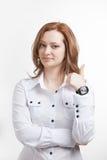 Pulgar para arriba Mujer de negocios en el fondo blanco Fotos de archivo libres de regalías