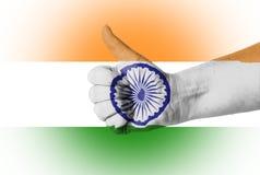 Pulgar para arriba para la India Imágenes de archivo libres de regalías