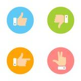 Pulgar para arriba, pulgar abajo, mano de la paz, iconos del índice fijados Foto de archivo libre de regalías