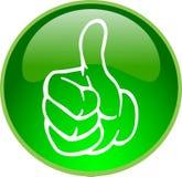 Pulgar verde encima del botón Fotografía de archivo
