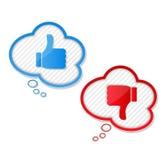 Pulgares arriba y abajo de símbolos Imagen de archivo libre de regalías