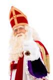 Pulgares de Sinterklaas para arriba en el fondo blanco Imagen de archivo libre de regalías