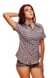 Pulgares del signo positivo de la mujer sí, pantalones cortos de la camisa Imagenes de archivo