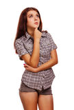 Pulgares del signo positivo de la mujer sí, pantalones cortos de la camisa Fotos de archivo libres de regalías