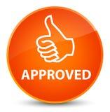 (Pulgares encima del icono) botón redondo anaranjado elegante aprobado stock de ilustración