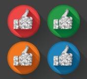 Pulgares encima del sistema del icono del vector en diseño polivinílico bajo Foto de archivo libre de regalías