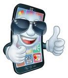 Pulgares frescos de las sombras del teléfono móvil encima de la mascota de la historieta stock de ilustración