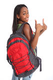 Pulgares positivos para arriba por la muchacha de la escuela del afroamericano Foto de archivo
