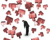 Pulgares que caen 3D abajo con el hombre cansado Imagen de archivo libre de regalías