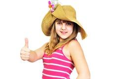 Pulgares que muestran adolescentes del verano divertido para arriba Fotos de archivo