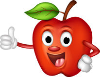 Pulgares rojos divertidos de la manzana para arriba Fotos de archivo